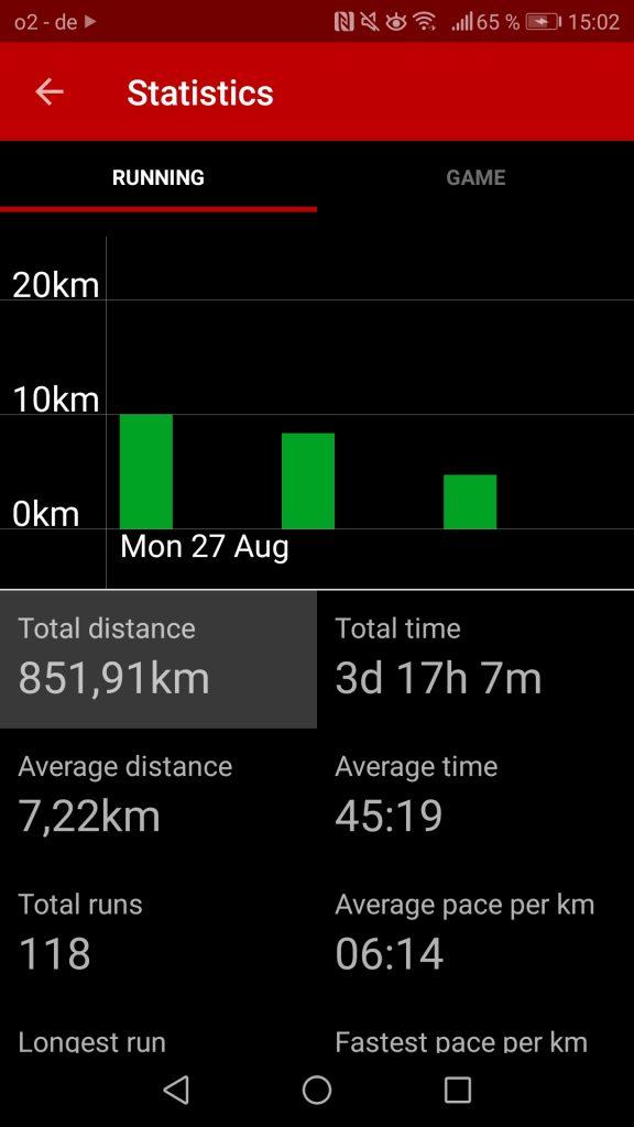 Sportliche Statistiken der App