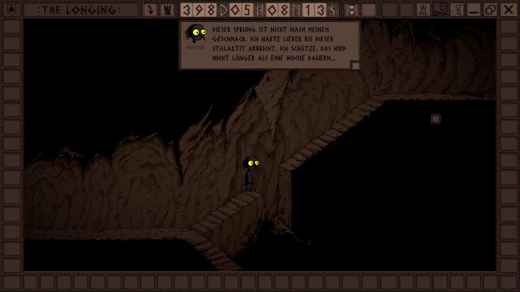 Das Bild zeigt eine unüberwindbare Lücke auf der Treppe, welche erst durch den Fall eines Felsens schließen wird.