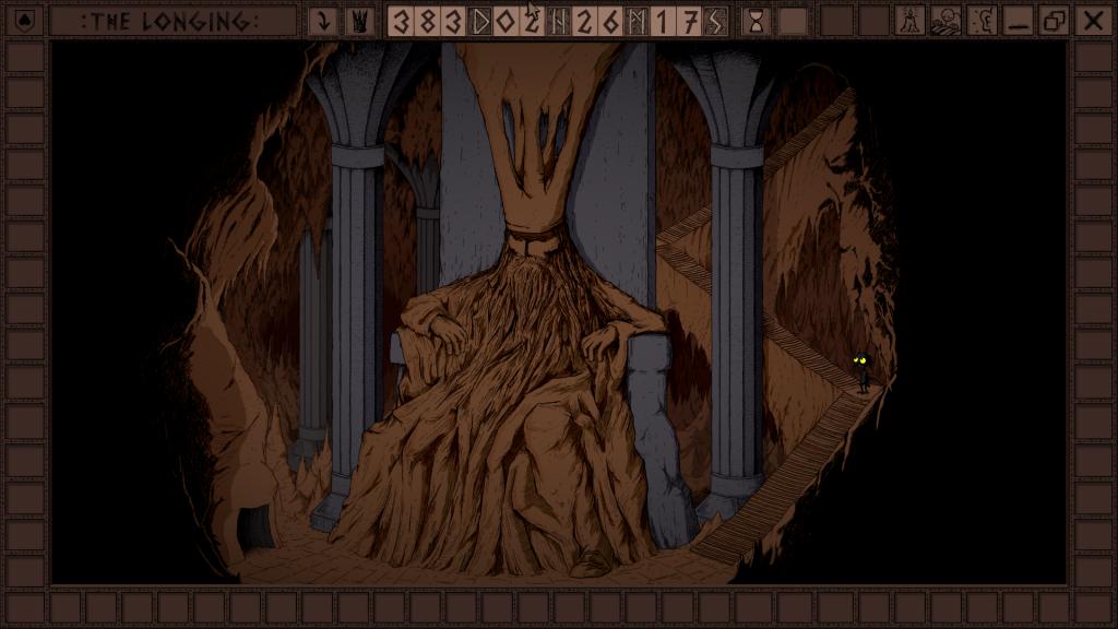 Das Bild zeigt den schlafenden König in seiner Thronhalle. Ein Treppenaufgang führt weit hinauf, aus dem Bild heraus.