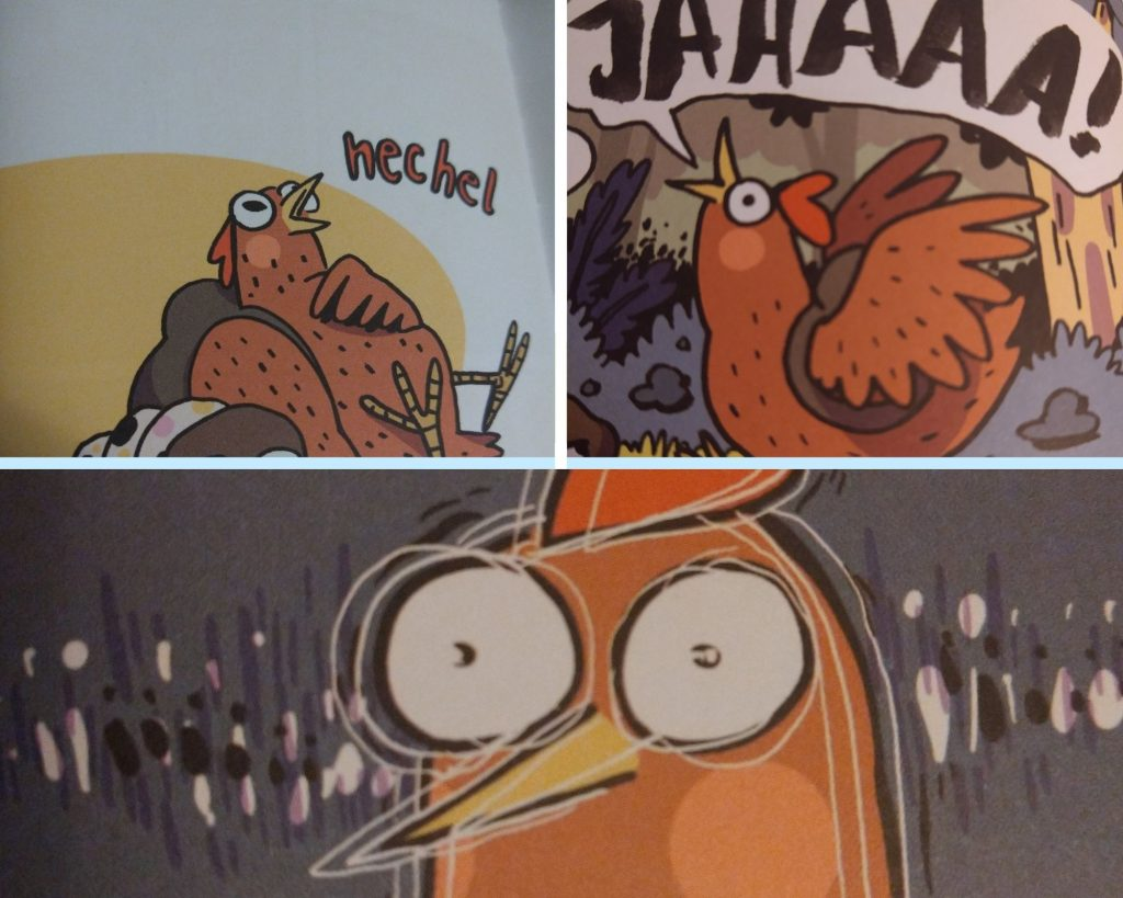 Drei Ausschnitte aus dem Comic Adventure Huhn, die Gesichtsausdrücke des Huhns zeigen.